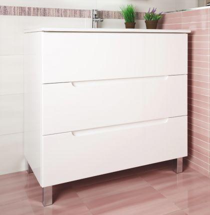 Mueble oval 90 cm blanco 3 gavetas precio rebajado - Muebles bano pereda ...